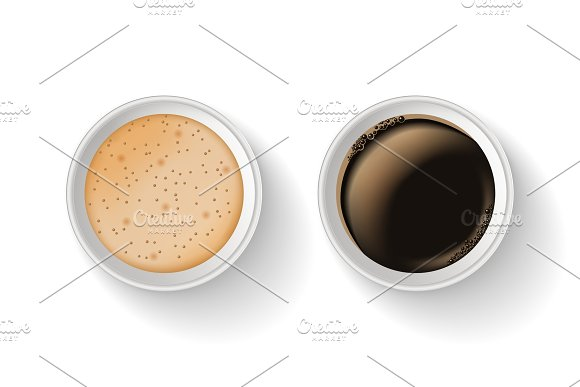Top view of two realistic, takeaway and to go paper coffee cups. in Illustrations