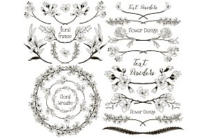 Big Collection of Floral Design Elements, Dividers, Frames