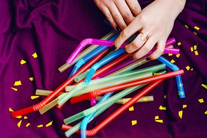 many bright and colorful straws for the holiday.