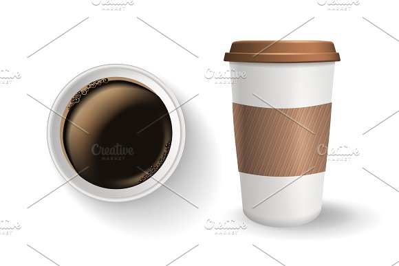 Top view of realistic, to go and takeaway paper coffee cup with lid and ripple sleeve.