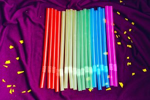 straws for a party and a bright holiday. background