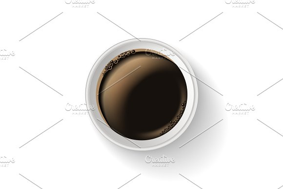 Top view of realistic, to go and takeaway paper coffee cup.