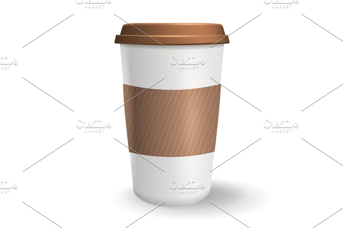 Realistic, take away and to go paper coffee cup with lid and ripple sleeve.