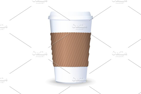 Realistic, to go and takeaway paper coffee cup with lid and ripple sleeve.