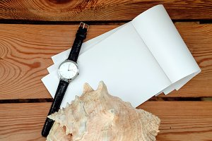 Wrist Watch. time. clean note pad