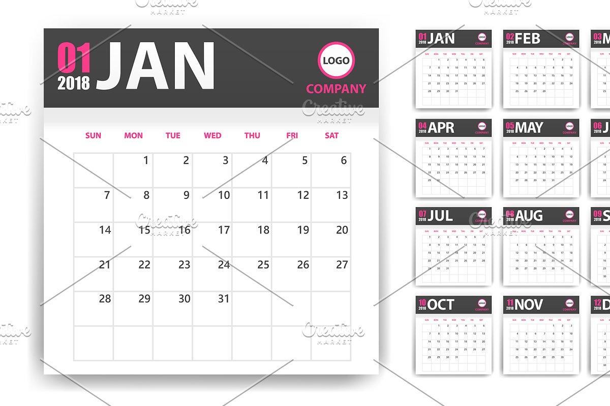 2018 vector calendar  in Illustrations