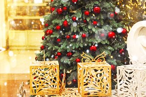Christmas tree. decoration and gifts. holiday. snow