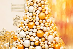 Christmas tree. balls of silver and gold. time for a holiday
