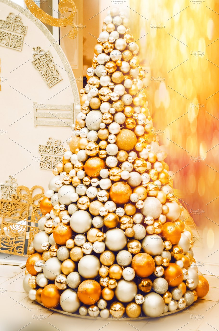 christmas tree balls of silver and gold time for a holiday