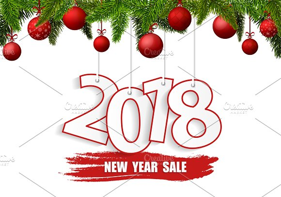 new year sale 2018 banner illustrations