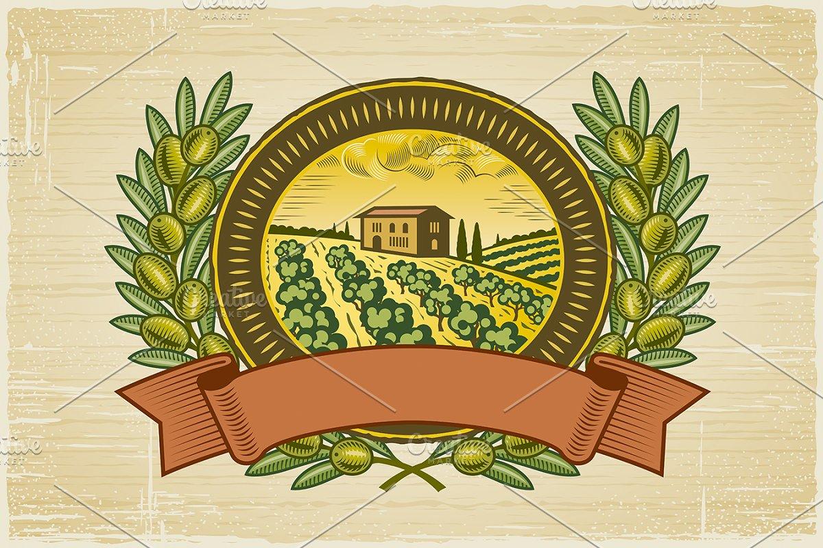 Olive Harvest Label in Illustrations