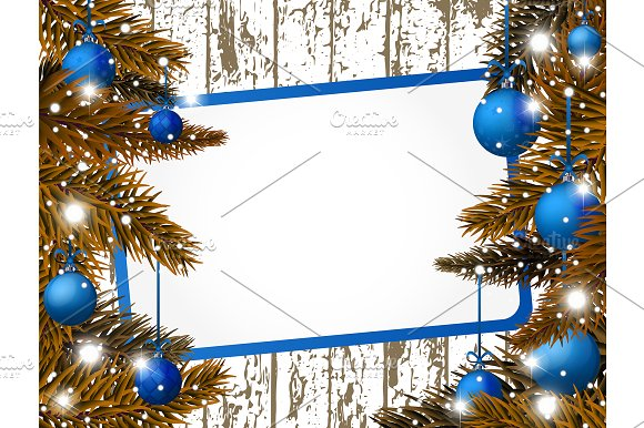 Blue Vector New Year banner in Product Mockups