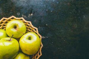 Juicy apples. Basket of vitamins