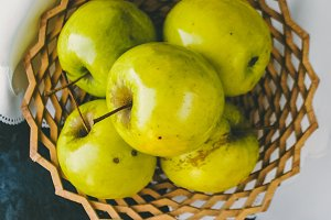 Vitamins for health. Juicy apples