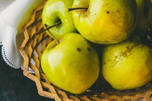 A plate with juicy apples. Autumn harvest