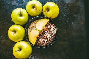 Muesli with apples. Useful breakfast for the whole family