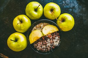 The plate is healthy food. Oatmeal with apples. Autumn harvest