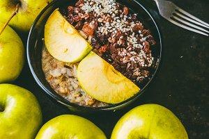 Useful breakfast. oat flakes. Apples and raisins