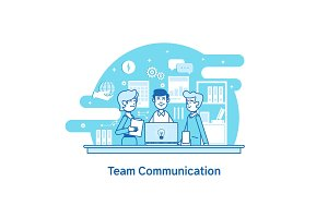 Business team, teamwork collaboration.Flat line vector icon concept