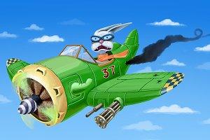 Falling Down Green Airplane