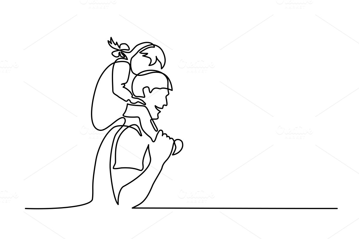 father with daughter on shoulders in Illustrations
