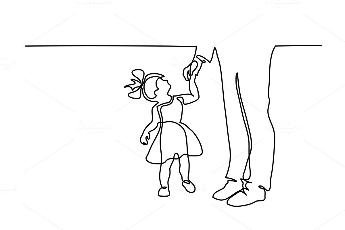 Father and little daughter walking in Illustrations