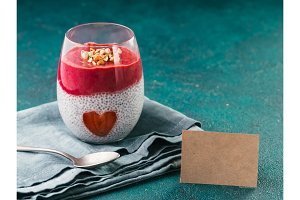 Valentine's Day Chia pudding with strawberry heart