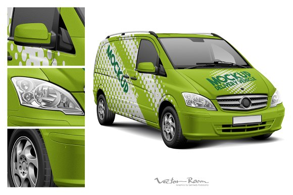 Delivery Vehicle Mockup in Product Mockups