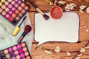Professional set for make-up. Accessories. Clean template