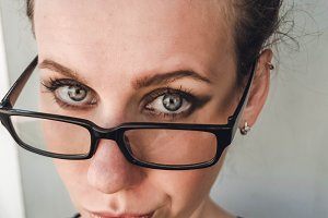 Serious look. Portrait of a girl. Teacher