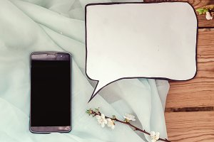 Phone and white sheet for business ideas