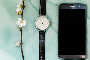 Wristwatch and phone. gift