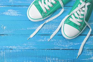 green textile sneakers