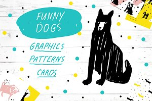 Funny Dogs. Graphics, Patterns, Card
