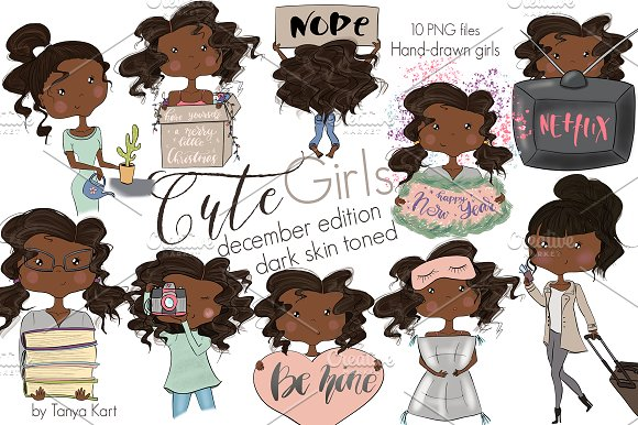 Cute Girls December Dark Skin Toned in Illustrations