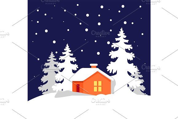 Orange House in Snowy Forest Vector Illustration in Objects