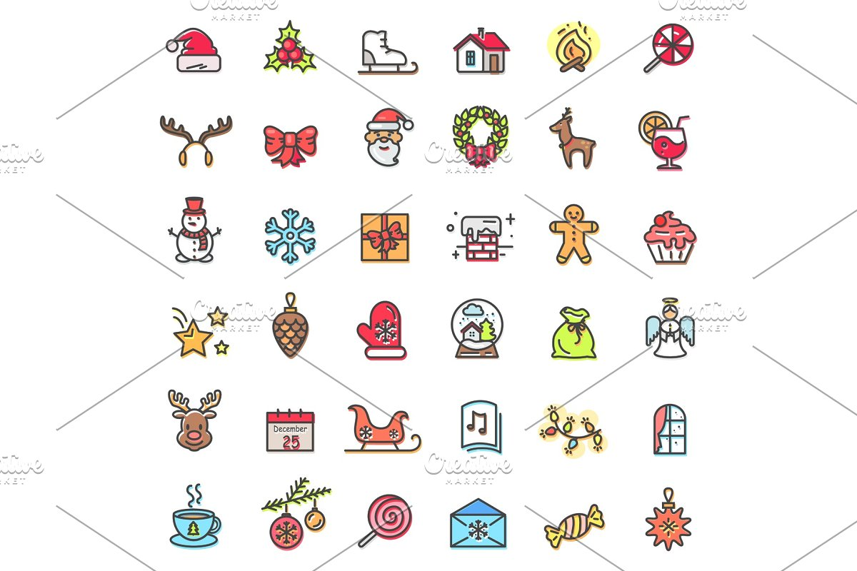 Christmas Holiday Set of Icons Vector Illustration in Objects