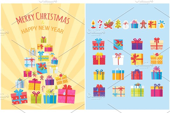 Merry Christmas Poster with Present Boxes Symbols in Objects