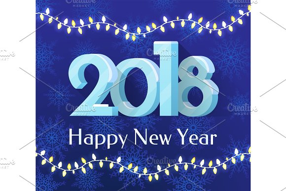 Happy New Year 2018 Banner Vector Illustration in Objects