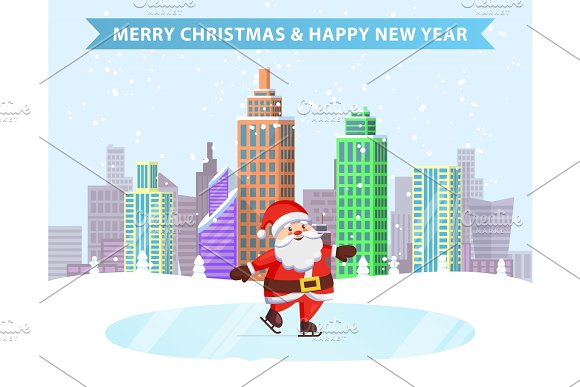 Merry Christmas Happy New Year Ice-Skating Santa