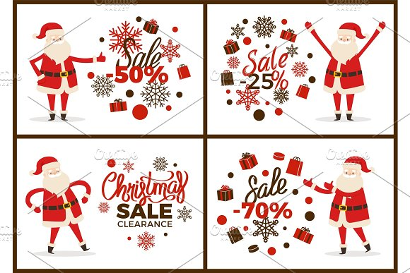 Christmas Sale Clearance Banner with Santa Claus in Objects