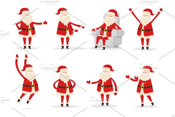 Santa Claus Gestures Set, Vector Illustration
