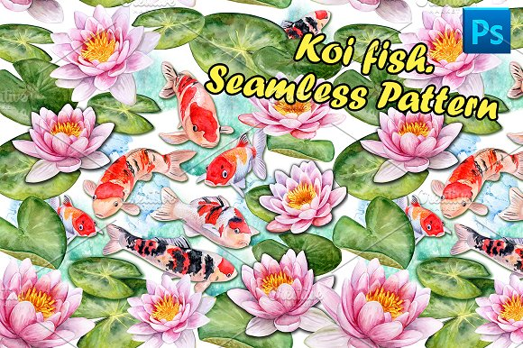 Koi carps. Water lilies in Patterns - product preview 1