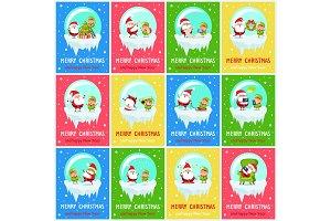 Merry Christmas Worried Santa Vector Illustration