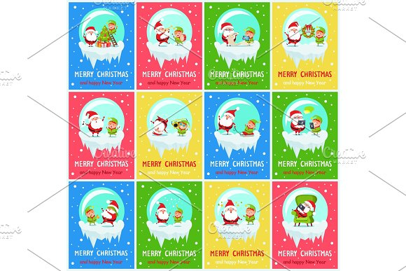 Merry Christmas Worried Santa Vector Illustration