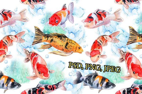 Koi carps. Water lilies in Patterns - product preview 5