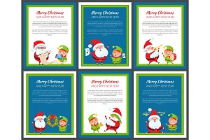 Set of Banners with Santa Claus and Pretty Elf