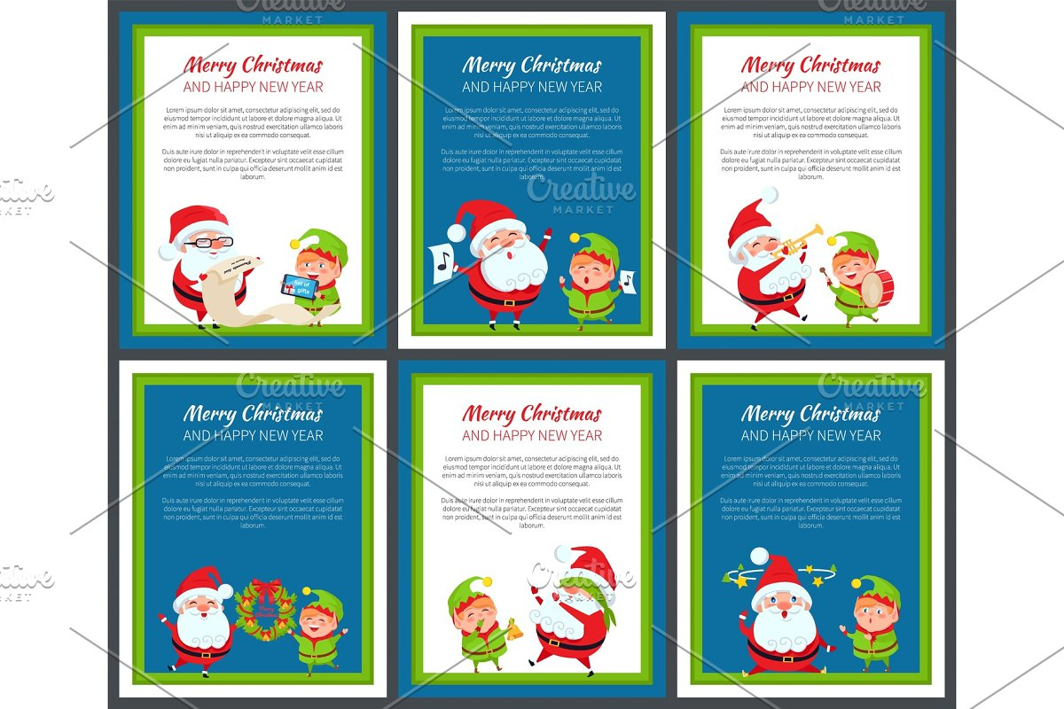 Set of Banners with Santa Claus and Pretty Elf in Objects