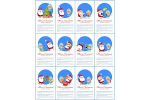 Merry Christmas Set of Placard Vector Illustration