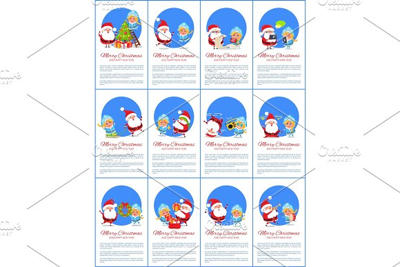 Merry Christmas Set of Placard Vector Illustration in Objects